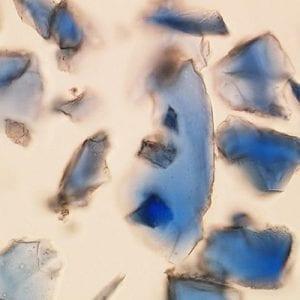 Polarized light microscopy of Azurite pigment