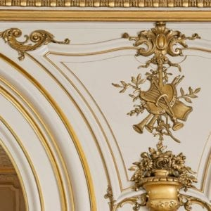 Close up of gilded decoration in the Cosmos Club ballroom.