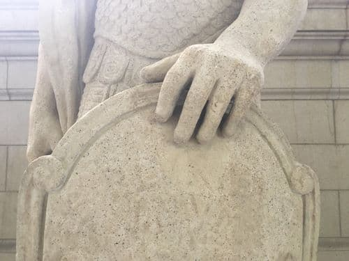 Restoring the Legionnaire Statues of Union Station (After Cleaning Shield)