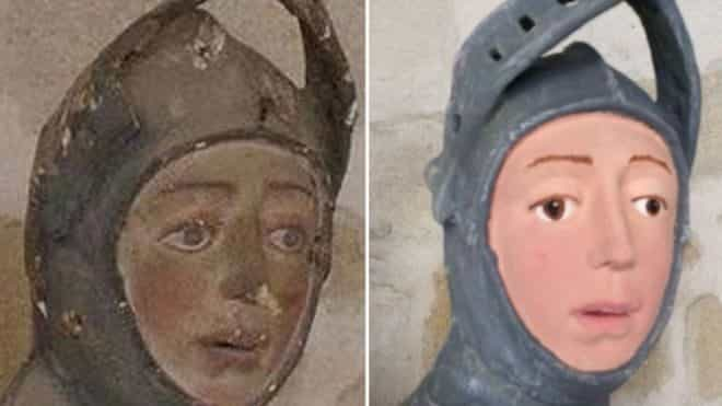 statue of st. george restoration before and after detail