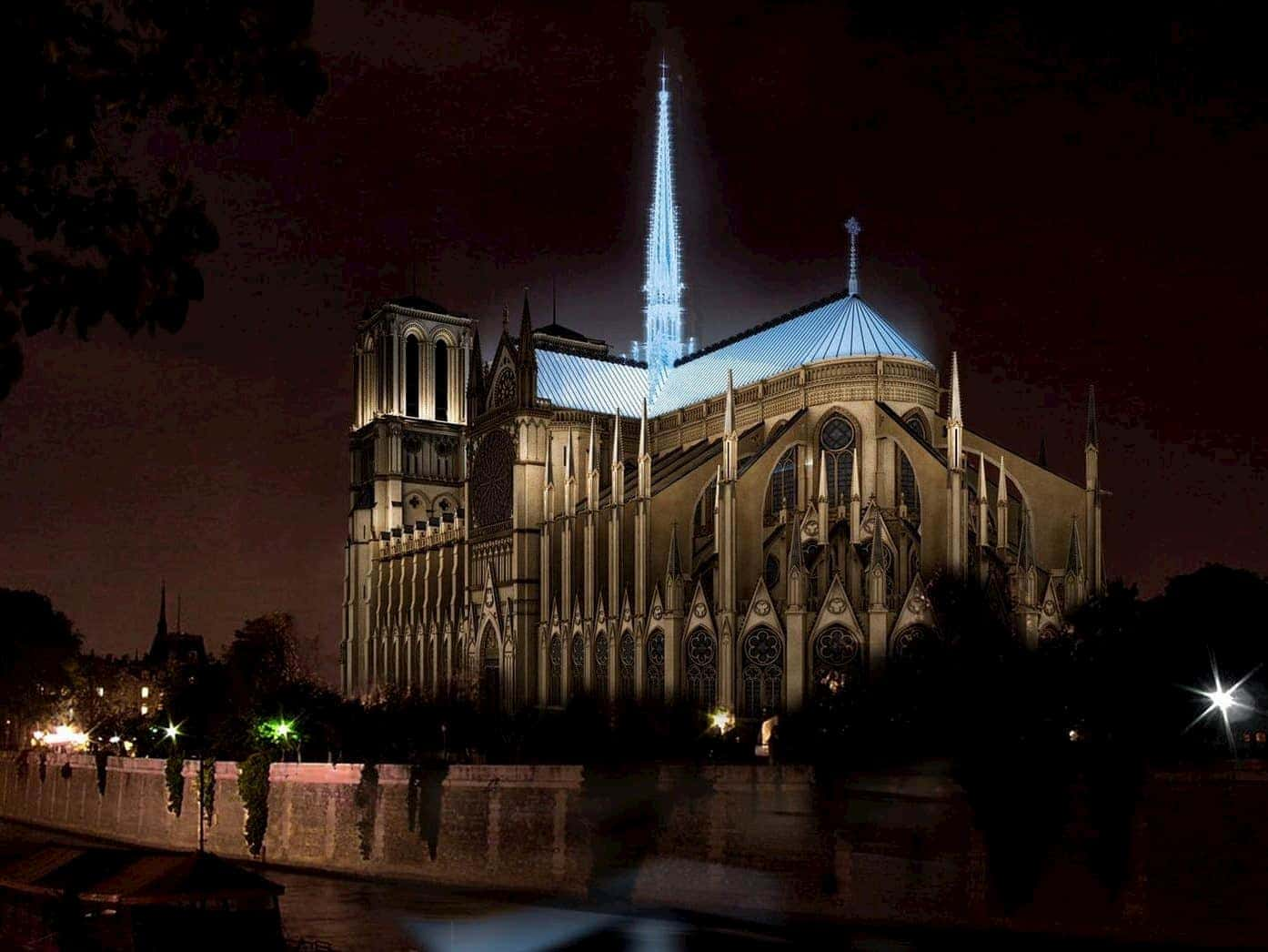 new notre dame concept art glass spire at night