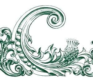 Scottish thistle flower incorpated into logo design