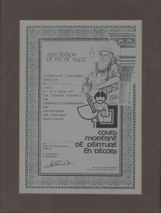 """""""Cours moderne de peinture en décors"""" certificate"""
