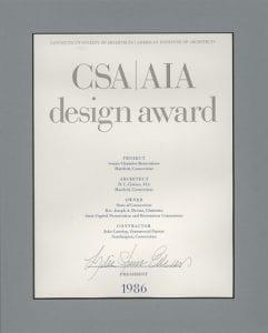Design Award, Connecticut Society of Architects, CSA/AIA