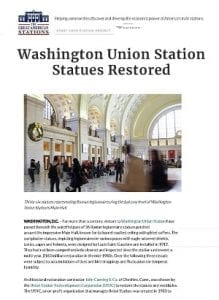 Washington Union Station Statues Restored – Great American Stations-article