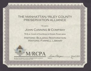 Award Certificate - Farrell Library - Riley County Preservation