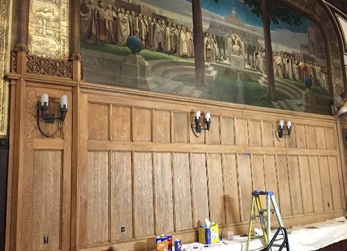 BC Gasson Hall Panels were toned to match existing prior to final stain and varnish applications