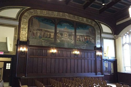 BC Gasson Hall Completed wood paneling with finish stain and varnish.